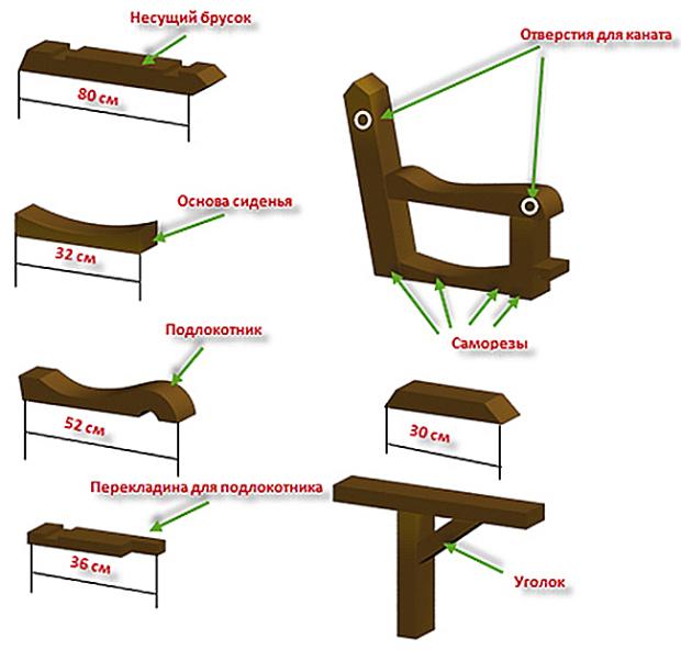Сиденье для качели чертежи
